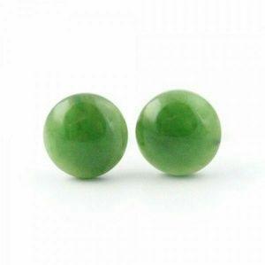 Canadian Nephrite Jade Round Ear Studs